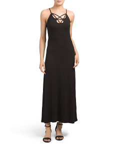 Juniors Criss Cross Strappy V Maxi Dress