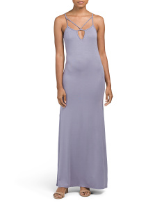 Juniors Strappy Keyhole Maxi Dress