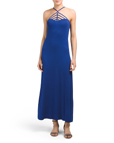 Juniors Strappy Neck Tube Maxi Dress