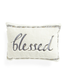 14x20 Sherpa Blessed Embroidered Pillow