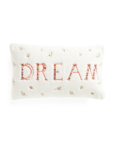 14x24 Sherpa Dream Embroidered Pillow