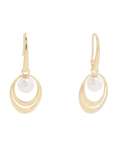 Made In Italy 14k Gold Pearl Circle Hook Earrings