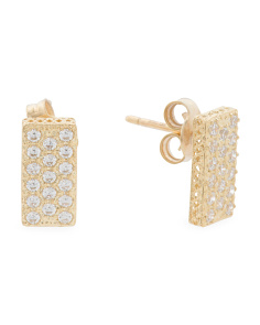 Made In Italy 14k Gold Pave Cubic Zirconia Rectangle Stud Earrings