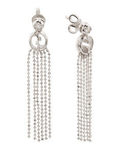 Made In Italy 18k White Gold 1973 Tassel Earrings