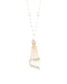 Made In Italy 14k Gold Gemstone Tassel Necklace