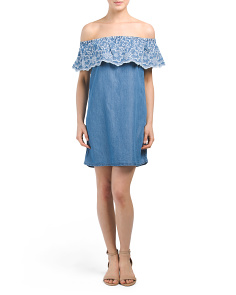 Juniors Embroidered Chambray Dress