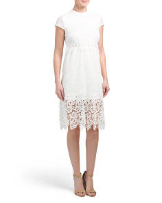 Juniors Tea Length Lace Dress