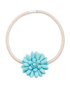 Turquoise Flower Gold Collar Necklace