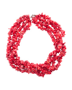 Red Coral Beaded Torsade Necklace