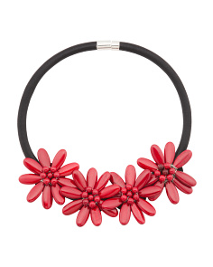 Coral 4 Flower Black Collar Necklace