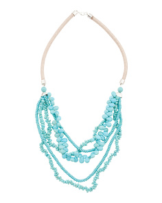 Turquoise Multi Strand Gold Corded Necklace