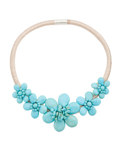 Turquoise 5 Flower Gold Collar Necklace