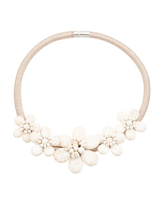 White Turquoise 5 Flower Gold Collar Necklace