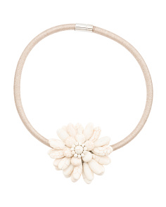 White Turquoise Flower Gold Collar Necklace