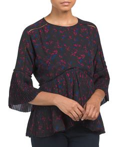 Firework Floral Pleated Top