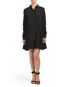Silk Lace Trim Shirt Dress
