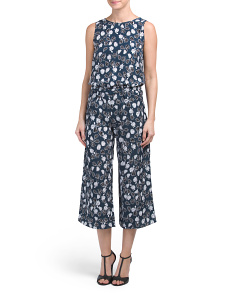 Tulip Print Cropped Flare Jumpsuit