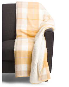 Plaid Throw With Sherpa