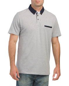 Textured Knit Polo With Inserts