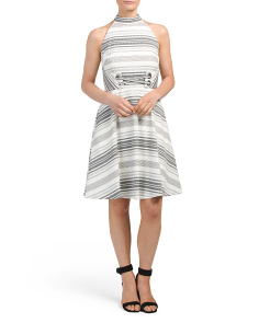 Cross Front Striped Dress