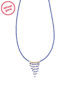 Made In USA 14k Gold Lapis Fringe Necklace