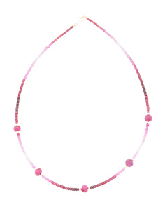 Made In Usa 14k Gold Ombre Ruby Station Necklace