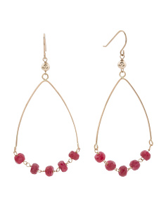 Made In USA 14k Gold Ruby Teardrop Earrings