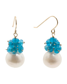 Made In USA 14k Gold Apatite Cluster And Pearl Drop Earrings