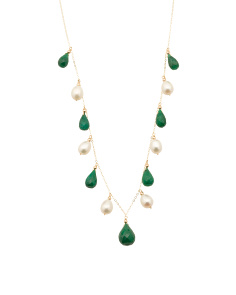 Made In USA 14k Gold Emerald And Pearl Cleopatra Necklace