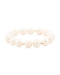 Made In USA 14k Gold Pearl Bracelet
