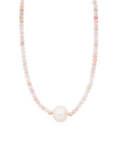 Made In USA 14k Gold Pink Opal And Pearl Necklace