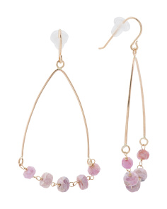 Made In USA 14k Gold Pink Sapphire Teardrop Earrings