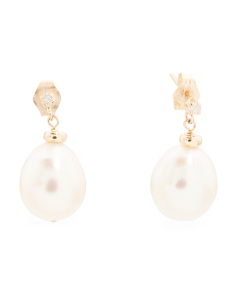 Made In USA 14k Gold Pearl And Diamond Earrings