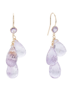 Made In USA 14k Gold Pink Amethyst Triple Drop Earrings