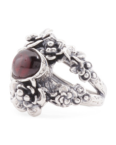 Made In Israel Sterling Silver Garnet Floral Ring