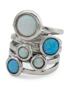 Made In Israel Sterling Silver Opal Multi Band Ring