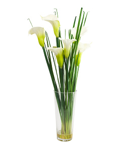 36in Faux Calla Lily In Glass Vase