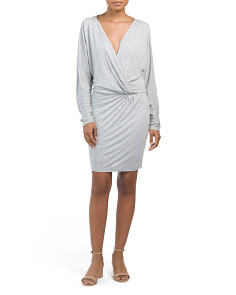 Long Sleeve Rouched Mini Dress