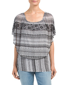 Convertible Neckline Printed Mesh Top