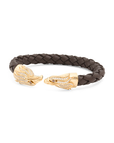 Men's Eagle Gold Plated Stainless Steel Leather Bracelet