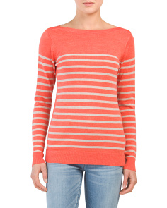 Striped Boat Neck Merino Wool Sweater
