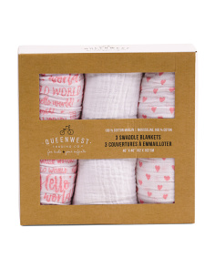 3pk Hello World Swaddle Blankets