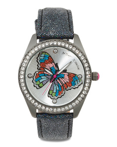 Women's Crystal Butterfly Leather Strap Watch