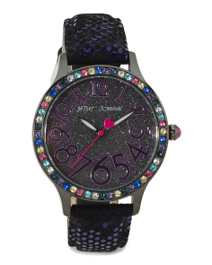 Women's Sparkle Dial Leather Strap Watch