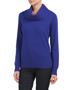 Cowl Neck Merino Wool Pullover Sweater