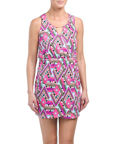 Printed Mini Wrap Cover-up Dress