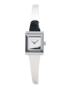 Women's Swiss Made Diamond Bezel Petite Square Bangle Watch