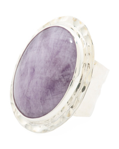 Made In Mexico Sterling Silver Oval Cape Amethyst Ring