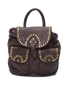 Made In Italy Studded Leather Backpack