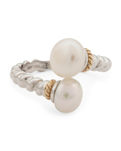 Made In Thailand 14k Gold And Sterling Silver Pearl Bypass Ring